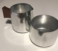Vintage 1970s Metal Milk Jug And Sugar Bowl. Teak Handle. SONA. Stratford Upon A