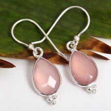 925 Sterling Silver Fashionable Earrings Pink CHALCEDONY Pear Gemstones c-6046