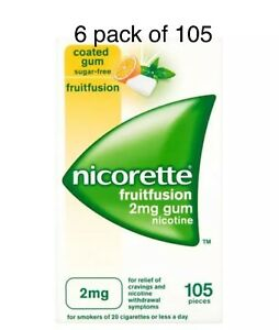 Nicorette Fruitfusion Chewing Gum, 2 mg, 105 Pieces — 6 Packs Of 105 Exp-01/2023