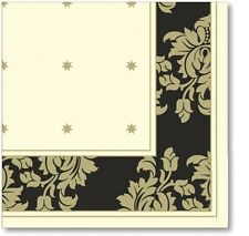 2ply Christmas Dinner Napkins x50 Gold & Black Damask