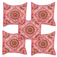 Light Pink Hand Work With Mirror Pillow Case Cushion Cover Waist Sofa Decor 5 PC