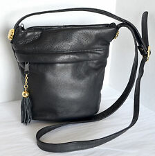 VTG Toni Womens or Girls Small Black Leather Crossbody Shoulder Bag Purse Retro