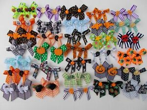 64 Fancy HALLOWEEN Dog Pet Child Baby Grooming Bows 2 sizes variety Lot # H33