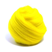 50g DYED MERINO WOOL TOP JONQUIL YELLOW DREADS 64's SPINNING FELTING ROVING