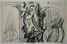 Dessin Ancien Cubiste Encre Personnage Portrait RENÉ AUDEBÈS 1963 #7