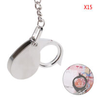 Folding Loupe 15X Magnifier Loupe Metal Magnifying Glass Lens With Keychain J YK