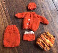 Vintage BARBIE  handmade Knitted Orange Sweater Skirt Hat & More 60s 70s Francie