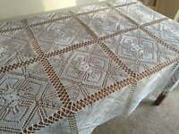 Vintage square tablecloth - Hand knitted - 100% Cotton 36'' x 36''