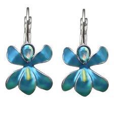 Kirks Folly African Queen Orchid LB Earrings  (Silvertone) Aqua & Teal