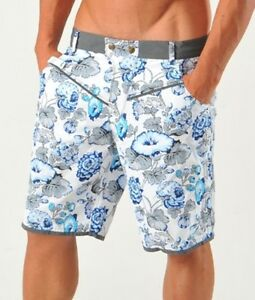 GERONIMO Mens Board Swim Shorts Floral Swimming Shorts Blue Flowered Cotton