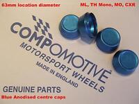 4 Genuine BLUE Anodised Wheel Centre Caps COMPOMOTIVE alloys MO,TH2, ML, CXR, TH