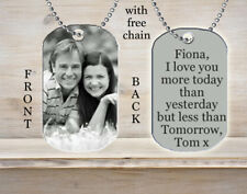 Personalized Custom Necklace Dog Tag Any Name Your Photo Picture Black & White