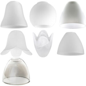 Modern Ceiling Light Shades x3 Frosted White Glass Bell Shaped Replacement Shade