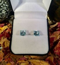 Genuine Swiss Blue Topaz 4mm square sterling silver claw stud earrings 🔷
