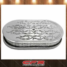 """Chevy Ford Mopar 15"""" Oval Polished Aluminum Air Cleaner Flamed Fits 5 1/8"""" Neck"""