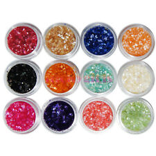 12 Nail Art Crushed Shell Glitter Gem Bead Powder Decorate 3D Acrylic UV Tip Set