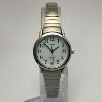 Timex Womens Indiglo Weekender Silver Tone Date Indicator Quartz Analog Watch