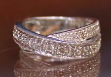 Ring Band Womens Size 6.5 18k White Gold Diamond Swirl