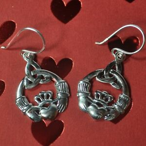 Irish Sterling Silver Claddagh Dangle Earrings - Mothers Day Gift