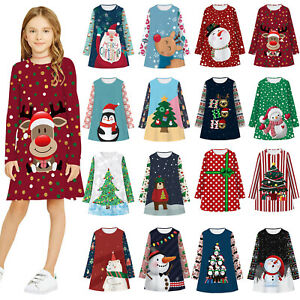 Toddler Baby Kids Girls Christmas Dress Print Party Dress Princess Dress Clothes