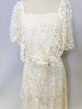 Vintage WWI Edwardian style Dress gown Ivory Lace Tiered M/L 1980s Downton Abbey