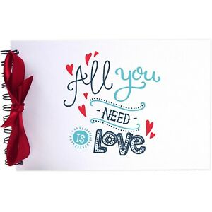 Ribbon, Swirl All You Need Love, Photo Album, Scrapbook, Blank White Pages, A5