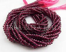 "12.5"" strand AAA RHODOLITE GARNET faceted gem stone rondelle beads 3mm"
