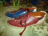 Vintage Dynamic Size 6 Men Rental Bowling Shoes Red Blue leather women's 7.5