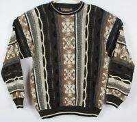 VTG LE TIGRE Men's L Brown Crew Neck Sweater Hip Hop 90s Style Biggie Smalls EUC