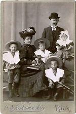 RIGA, LATVIA, IMPERIAL RUSSIA ca 1900's CABINET PHOTO FAMILY CHARMING CHILDREN
