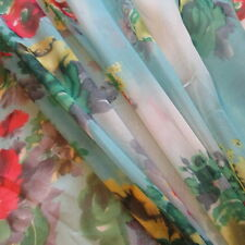 Blue Ombre Cloud Poppy Printed Chiffon 100% Polyester 58 Inch Wide Fabric Bty