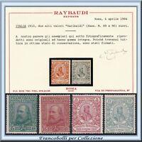 1910 Italia Regno Garibaldi n. 87/90 Certificato Raybaudi Nuovi Integri **