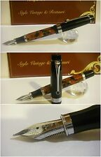 stilografica Regal British Amber Celluloid Fountain Pen - Nib Rhodium siz. M