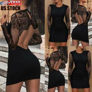 Sexy Women's Backless Bodycon Dress Ladies Evening Party Ball Gown Mini Dresses