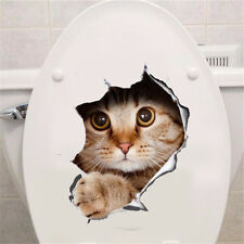 View Hole Vivid Cats 3D Wall Sticker Bathroom Toilet Home Decoration Sticker FT