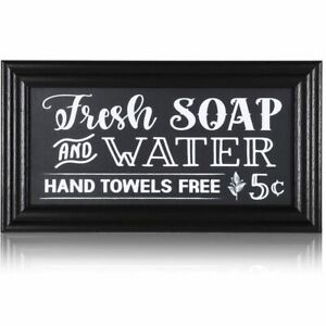 Vintage Wall Sign for Home and Bathroom Decor (14 x 7.5 Inches)