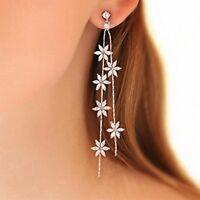 Long 925 Sterling Silver Pin CZ Flower Star Drop Dangle Party Bridal Earrings