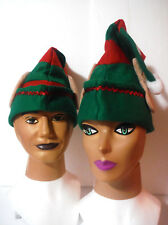 Elf Hat w/Ears. Red Green Stripes White Puff Top .Fits Most. Costume Accessory