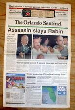 1995 headline newspaper ISRAEL 's PRIME MINISTER YITZHAK RABIN is ASSASSINATED