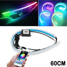 2X 60CM RGB APP Slim Flexible LED DRL Daytime Running Strip Light For Headlight