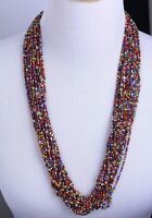 """Vintage Multi Strand Multi Color Seed Bead Necklace Silver Tone Beads Clasp 29"""""""