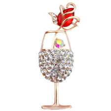 Gold Red Glass of Champagne with Red Tulip Crystal Rhinestones Brooch Pin BR454