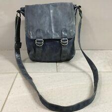 WHITE STUFF Blue Crossbody Handbag Messenger Satchel Leather Medium Vintage