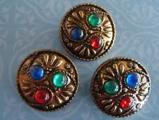 3 Vintage Jeweled Buttons brass colour 25 mm jewelry scrapbook knit craft