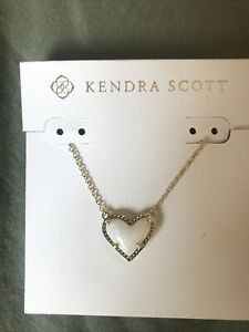 kendra scott ari heart necklace Gold And White Opal