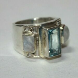 Sajen Sterling Silver Topaz Band Ring with Moonstone Accents Size 7.5  [071GRA]