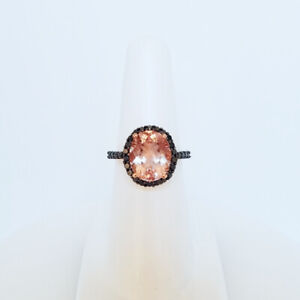 3.40 CTW. OVAL PEACH PINK MORGANITE BLACK DIAMOND 14K ROSE GOLD RING