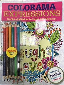 Colorama Coloring Book Expressions Words of Wisdom to Color Display w/ Pencils