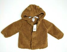 New baby Gap Boys Sherpa Soft Brown Jacket Coat Size 0-3, 3-6, 6-12, 18-24 Month