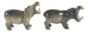 Hand Painted Porcelain Miniature Set 2 Hippopotamus figurine